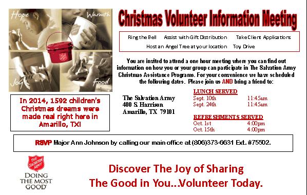 Salvation Army Christmas Volunteer Information Meeting