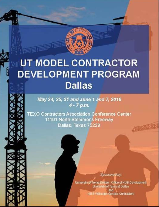 UT Systems Model Contractor Development Program (MCDP) @ TEXO Contractors Association Conference Center | Dallas | Texas | United States