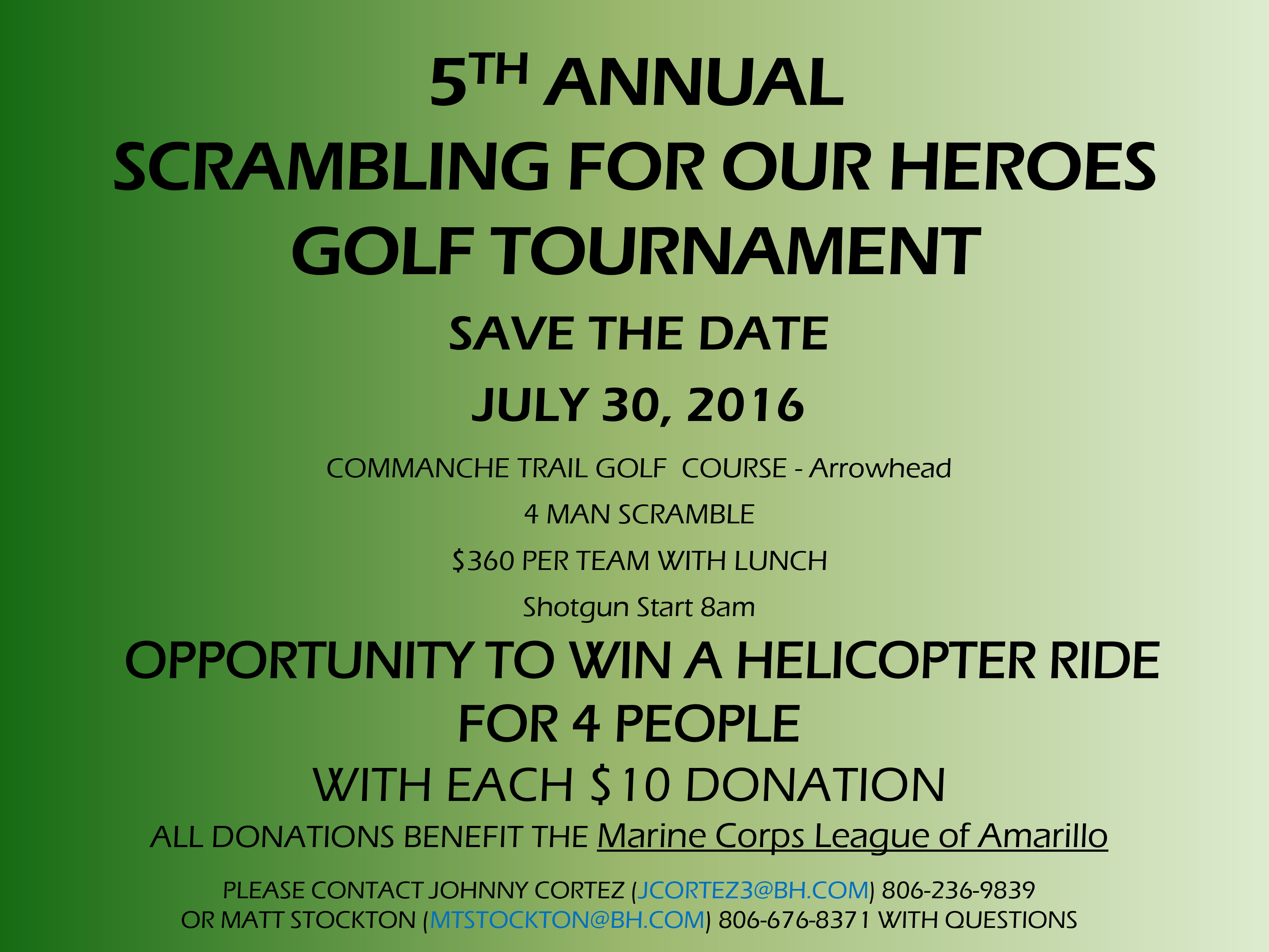 5th Annual Scrambling for Our Heroes Golf Tournament @ Commanche Trail Golf Course | Amarillo | Texas | United States