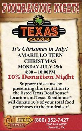 Amarillo Teen Christmas @ Texas Roadhouse | Amarillo | Texas | United States