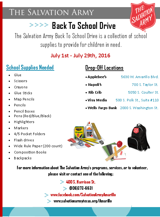 The Salvation Army Back to School Drive @ Amarillo | Texas | United States