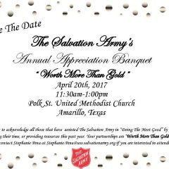 The Salvation Army's Annual Appreciation Banquet – 4/20/17