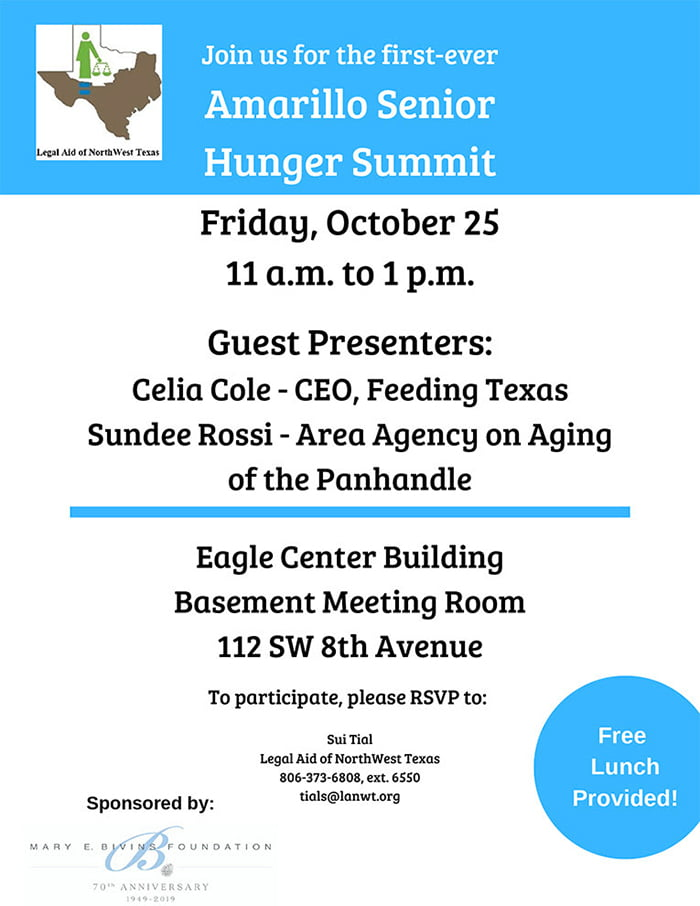 Legal Aid of NorthWest Texas Amarillo Senior Hunger Summit @ Eagle Center Building Basement Meeting Room